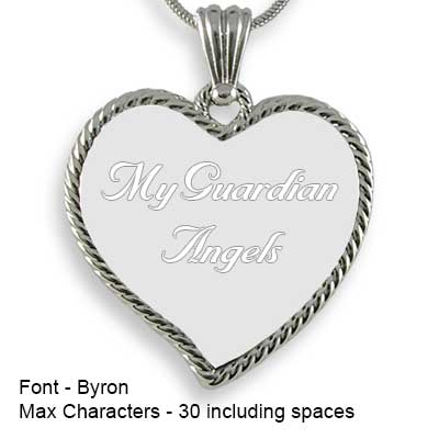 Engravable Back of Rhodium Medium Rope Edged Curved Heart Photo Pendant