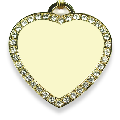Face of Large diamante gold plate heart photo merged pendant