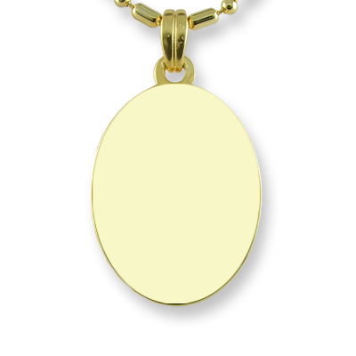 Blank face of Gold Plated Mini Oval Photo Pendant