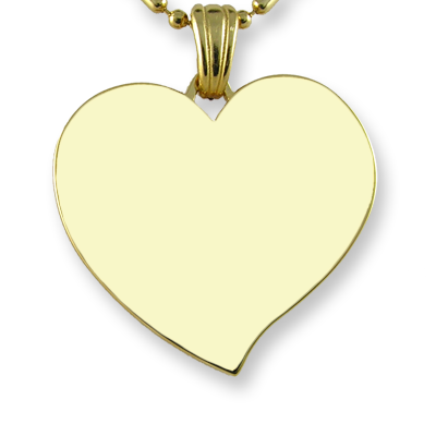 Blank Face Dimensions Gold Plated Medium Curved Colour Heart Photo Pendant