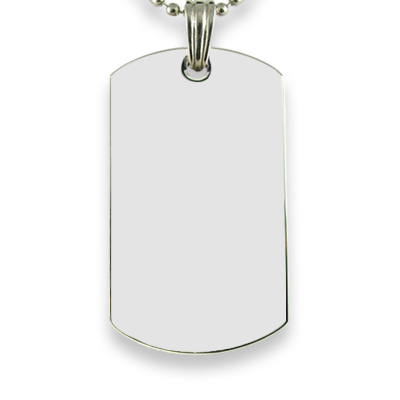 Blank face Rhodium Plate Large Dog Tag Colour Photo Pendant