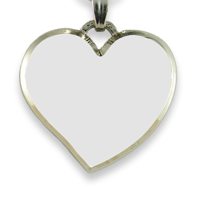 Blank Face Rhodium Plate Deluxe Bevelled Curved Medium Heart Colour Photo Pendant
