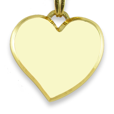 Blank Face Curved Bevelled Medium Heart Colour Photo Pendant