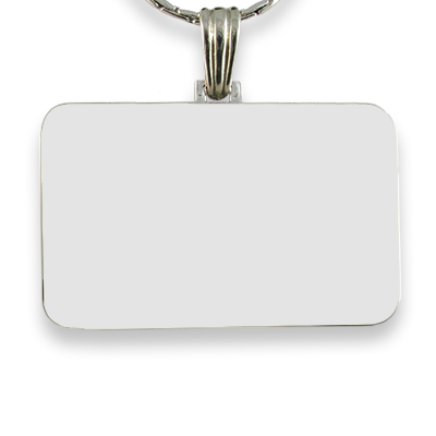 Blank Rhodium Plated Colour Family Rectangle Photo Pendant
