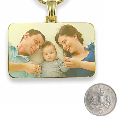 Gold Plated Colour Family Rectangle Photo Pendant with 5p scale