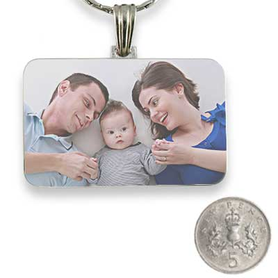 Rhodium Plated Colour Family Rectangle Photo Pendant with 5p scale