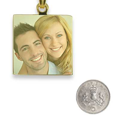 Gold Plated Small Colour Square Photo Pendant with 5p scale