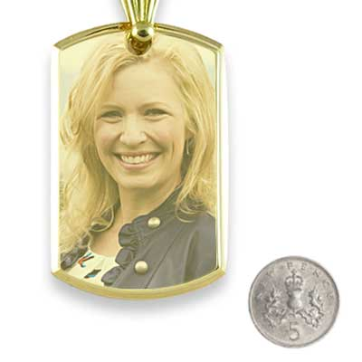 Gold Plate Large Deluxe Bevelled Colour Portrait Pendant with5p scale