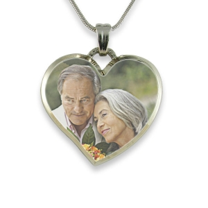 Rhodium Plate Deluxe Bevelled Curved Medium Heart Colour Photo Pendant