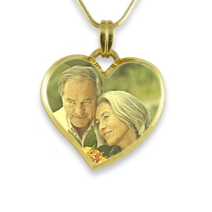 Curved Bevelled Medium Heart Colour Photo Pendant