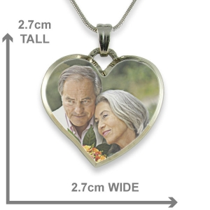 Dimensions Rhodium Plate Deluxe Bevelled Curved Medium Heart Colour Photo Pendant