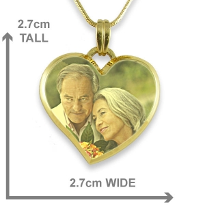 Dimensions Curved Bevelled Medium Heart Colour Photo Pendant