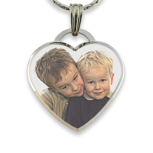Rhodium Plate Deluxe Bevelled Large Colour Drop Heart Photo Pendant