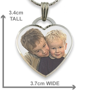 Dimensions Rhodium Plate Deluxe Bevelled Large Colour Drop Heart Photo Pendant