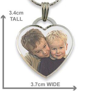 Dimensions Rhodium Plate Deluxe Bevelled Large Colour Drop Heart Photo Pendant