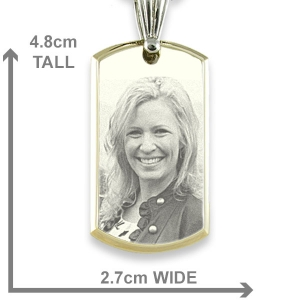 Dimensions of Large Stainless Steel Bevelled ID-Tag Photo Pendant