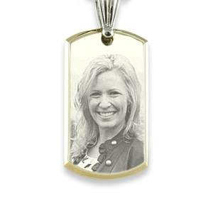 Engraved Photo on Large Stainless Steel Bevelled ID-Tag Photo Pendant