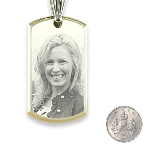 5p Scale Large Stainless Steel Bevelled ID-Tag Photo Pendant