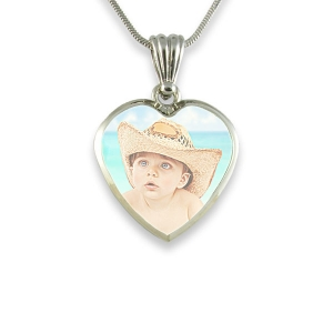 Medium Heart Printed Colour Photo Pendant