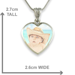 Dimensions Medium Heart Printed Colour Photo Pendant