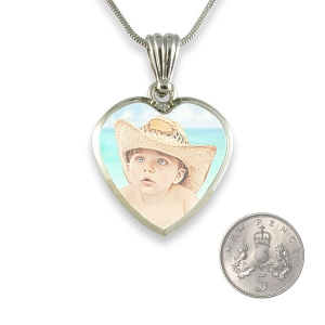 5p scale Medium Heart Printed Colour Photo Pendant
