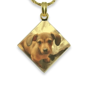 Gold Plated Colour Diamond Drop Photo Pendant