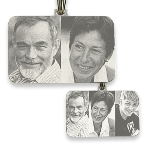 Rhodium Plated Family Rectangle Photo Merged Pendant