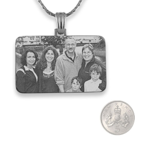 5p Scale Rhodium Plated Family Photo Pendant