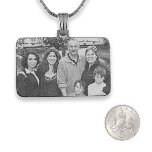 5p Scale Rhodium Plated Family Photo Pendant