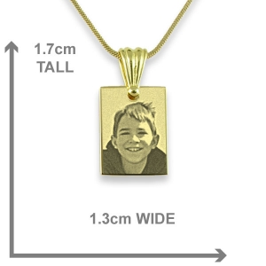 Dimensions of Gold Plated Mini Rectangle Photo Pendant
