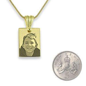 5p Scale Gold Plated Mini Rectangle Photo Pendant