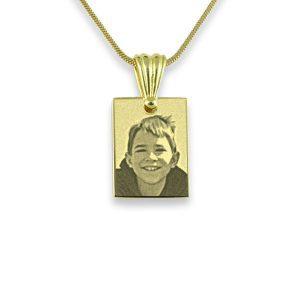 Gold Plated Mini Rectangle Photo Pendant