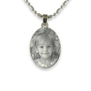 Rhodium Mini Oval Photo Pendant