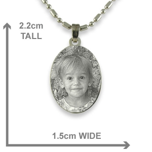 Dimensions of Rhodium Mini Oval Photo Pendant