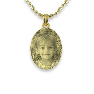 Gold Plated Mini Oval Photo Pendant