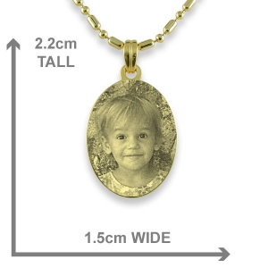 Dimensions of Gold Plated Mini Oval Photo Pendant