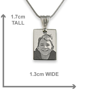 Dimensions of Rhodium Plated mini Rectangle Photo Pendant