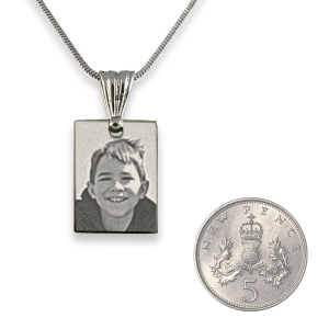 5p Scale of Rhodium Plated mini Rectangle Photo Pendant