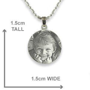 Dimensions of Silver 925 Mini Round Photo Pendant