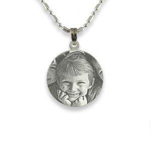 Silver 925 Mini Round Photo Pendant