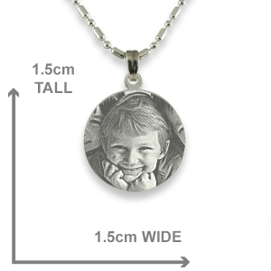 Dimensions of Rhodium Mini Round Photo Pendant