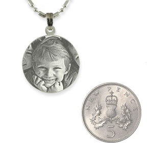 5p Scale of Rhodium Mini Round Photo Pendant