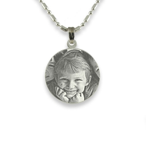 Rhodium Mini Round Photo Pendant