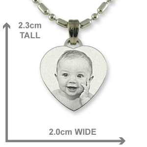 Dimensions of Rhodium Small Heart Photo Pendant