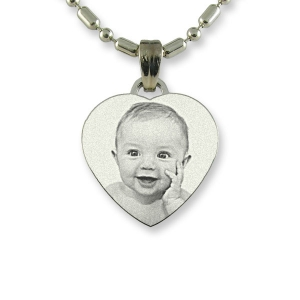 Photo etched Stainless Steel Small Heart Photo Pendant