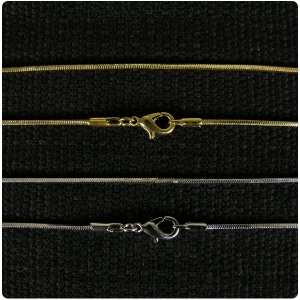 Gold and Rhodium Plated Cubic Snake Chain 20 inch Chain