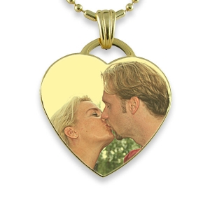 Gold Plate Large Drop Heart