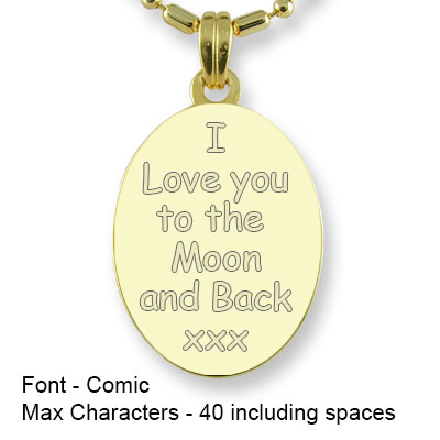Engravable Back of Gold Plated 925 Silver Medium Oval Photo Pendant