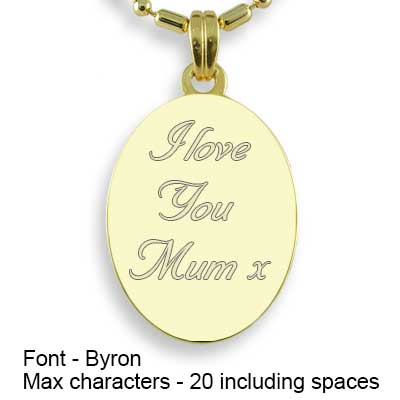 Engravable Back of Gold Plated Mini Oval Photo Pendant