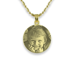 Gold Plated 925 Silver Mini Round Photo Pendant